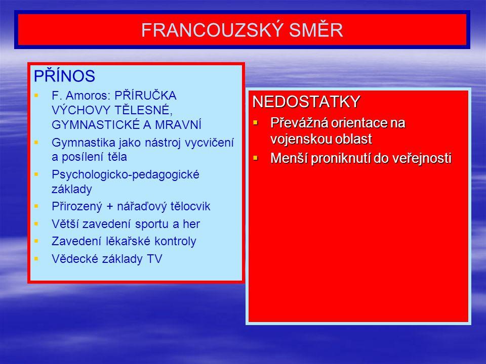 FRANCOUZSKÝ SMĚR PŘÍNOS   F. Amoros: PŘÍRUČKA VÝCHOVY TĚLESNÉ, GYMNASTICKÉ A MRAVNÍ   Gymnastika jako nástroj vycvičení a posílení těla   Psycho