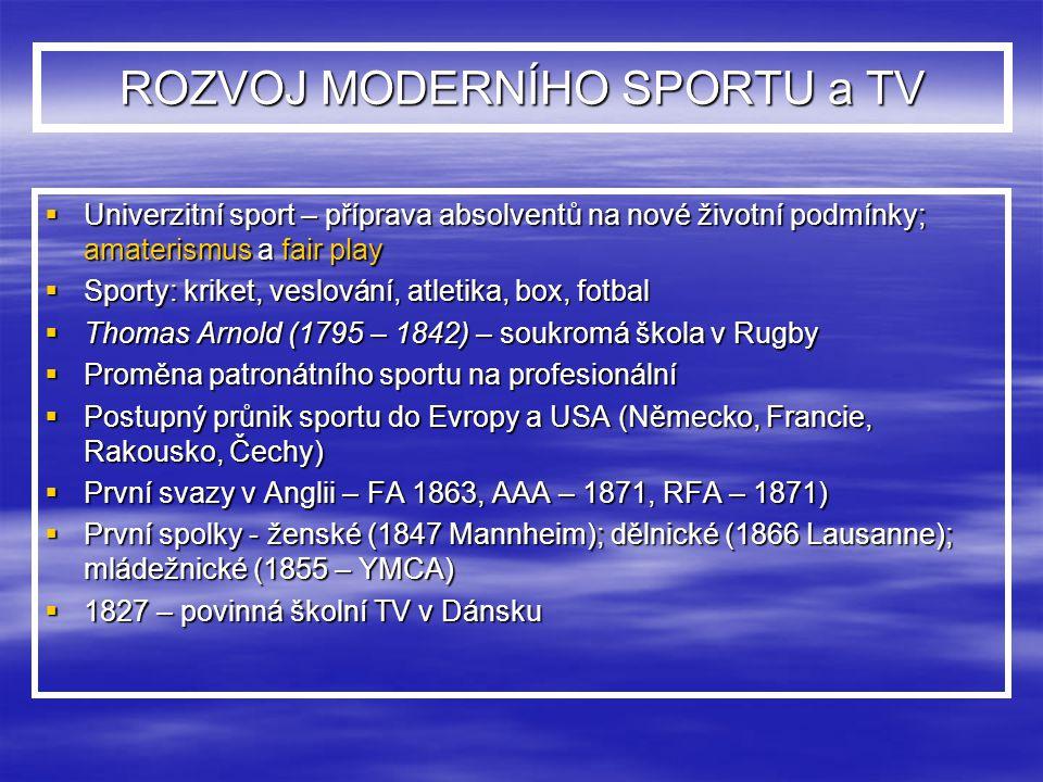 ROZVOJ MODERNÍHO SPORTU a TV  Univerzitní sport – příprava absolventů na nové životní podmínky; amaterismus a fair play  Sporty: kriket, veslování,