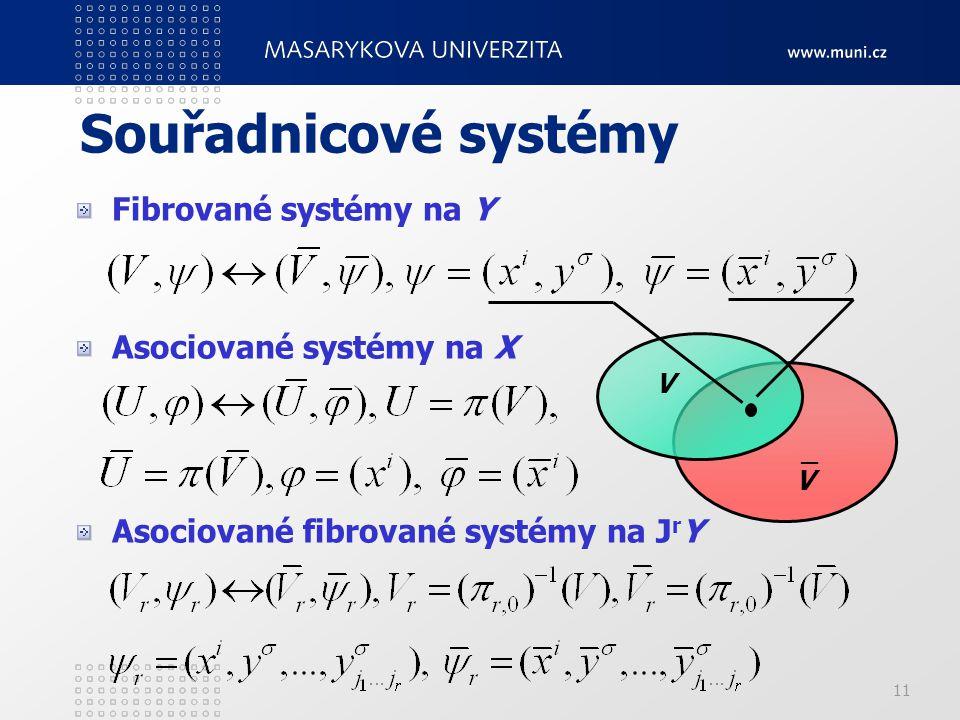 11 Souřadnicové systémy Fibrované systémy na Y Asociované systémy na X Asociované fibrované systémy na J r Y V V _