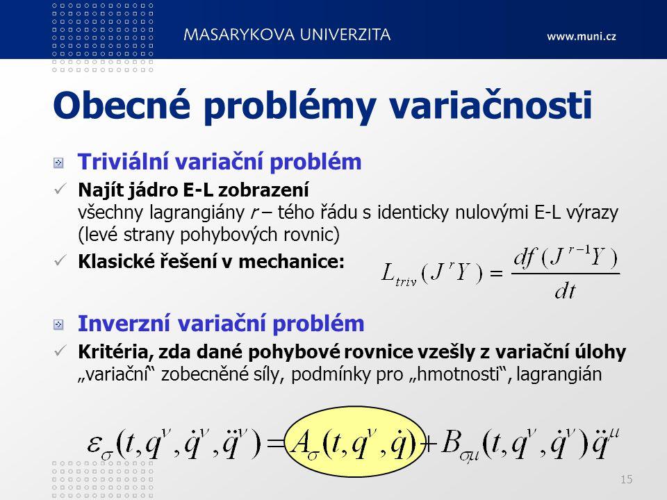 15 Obecné problémy variačnosti Triviální variační problém Najít jádro E-L zobrazení všechny lagrangiány r – tého řádu s identicky nulovými E-L výrazy