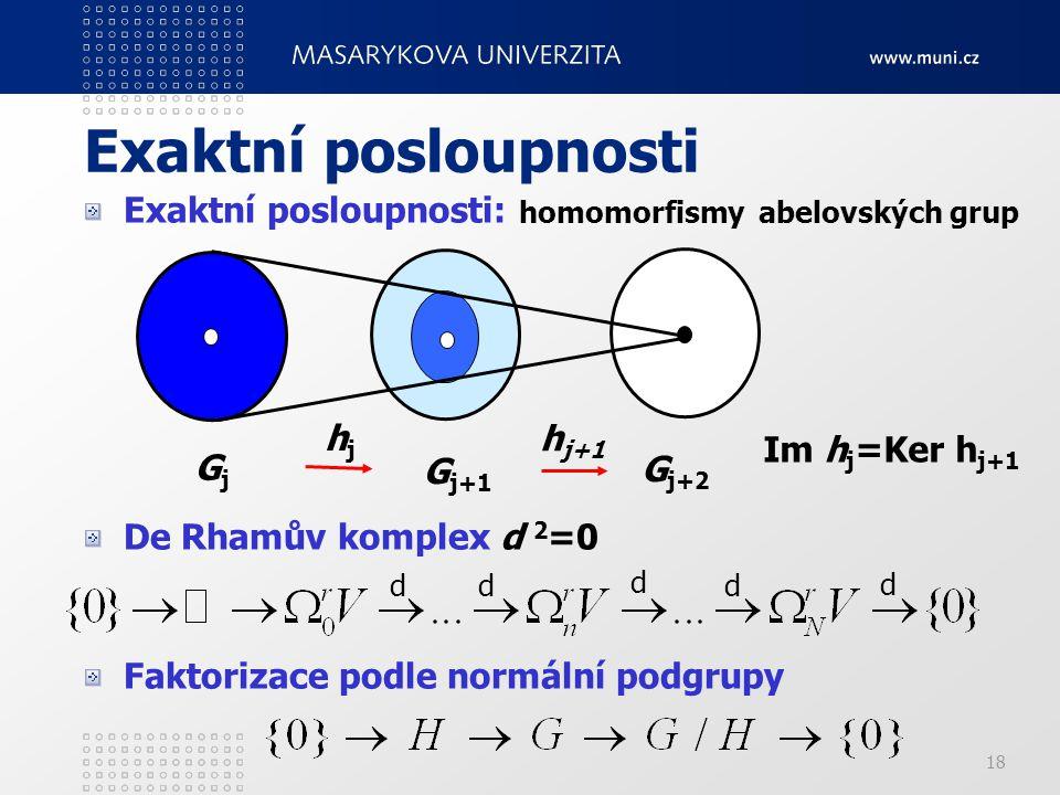 18 Exaktní posloupnosti Exaktní posloupnosti: homomorfismy abelovských grup De Rhamův komplex d 2 =0 Faktorizace podle normální podgrupy GjGj G j+1 G