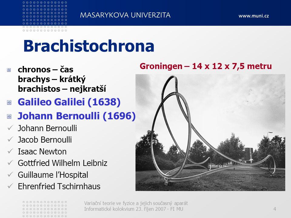 Variační teorie ve fyzice a jejich současný aparát Informatické kolokvium 23. říjen 2007 - FI MU4 Brachistochrona chronos – čas brachys – krátký brach