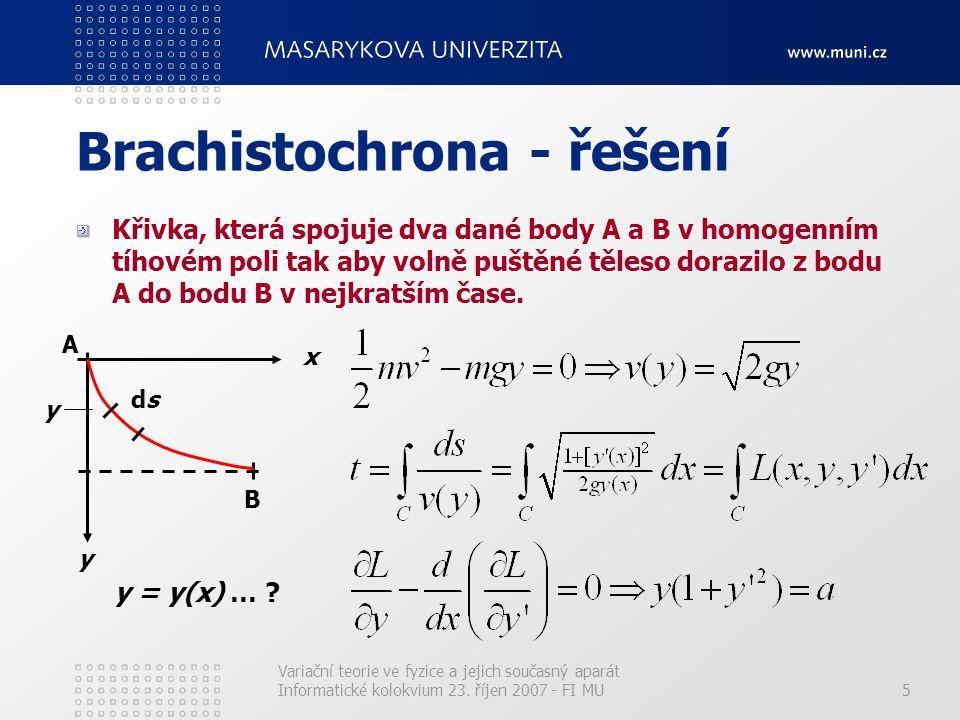 Variační teorie ve fyzice a jejich současný aparát Informatické kolokvium 23. říjen 2007 - FI MU5 Brachistochrona - řešení Křivka, která spojuje dva d