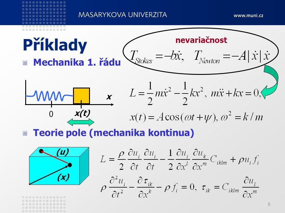 9 Matematická formulace variačních teorií geometrická struktura podkladových prostorů geometrické objekty pro popis veličin variační ekvivalence triviální variační problém variačnost pohybových rovnic (inverzní problém) integrabilita lokálnost a globálnost