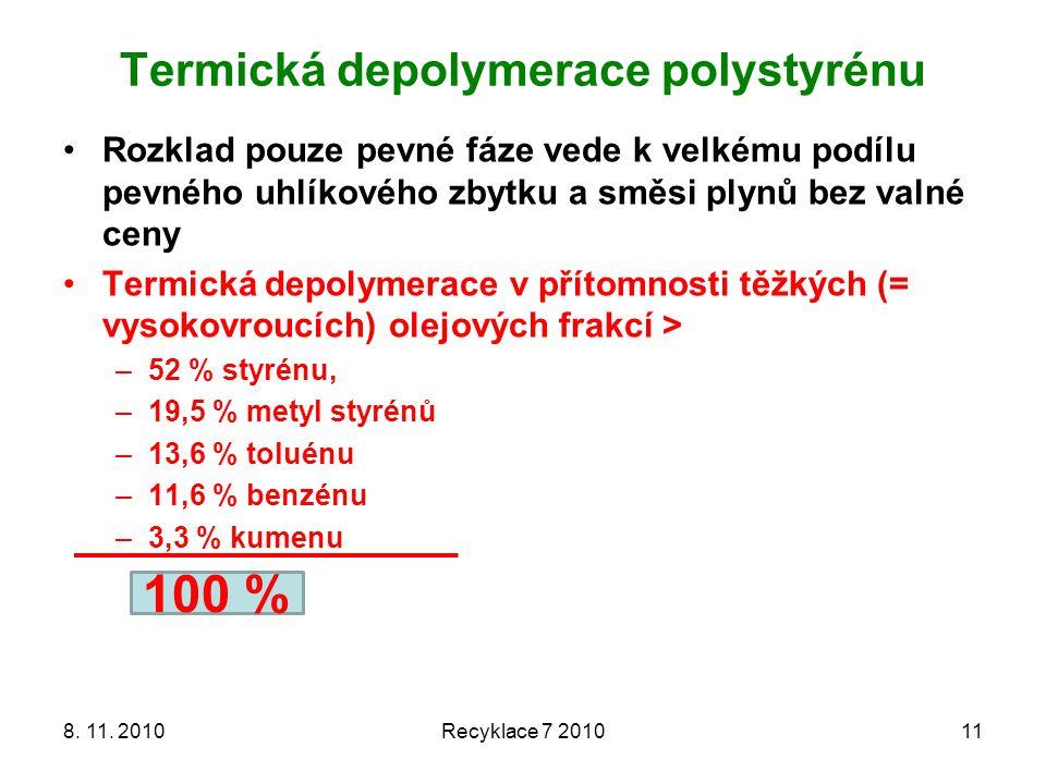 Termická depolymerace polystyrénu 8. 11. 2010Recyklace 7 201011 Rozklad pouze pevné fáze vede k velkému podílu pevného uhlíkového zbytku a směsi plynů