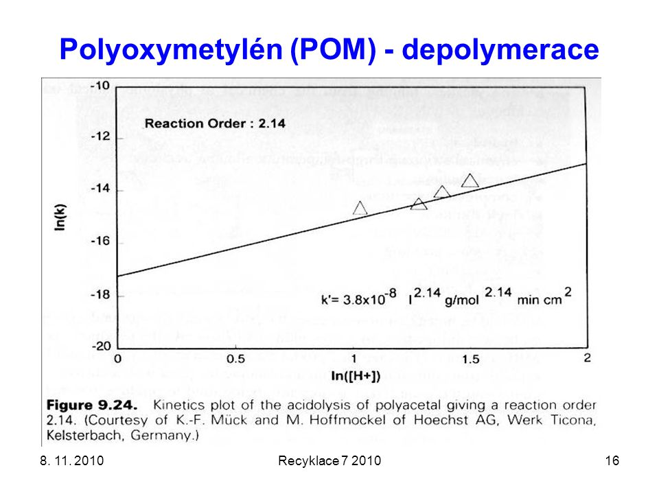 Polyoxymetylén (POM) - depolymerace 8. 11. 2010Recyklace 7 201016