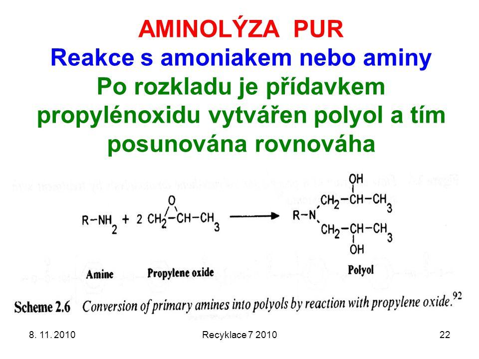 8. 11. 2010Recyklace 7 201022 AMINOLÝZA PUR Reakce s amoniakem nebo aminy Po rozkladu je přídavkem propylénoxidu vytvářen polyol a tím posunována rovn
