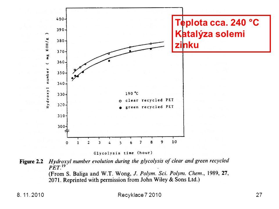 8. 11. 2010Recyklace 7 201027 Teplota cca. 240 °C Katalýza solemi zinku
