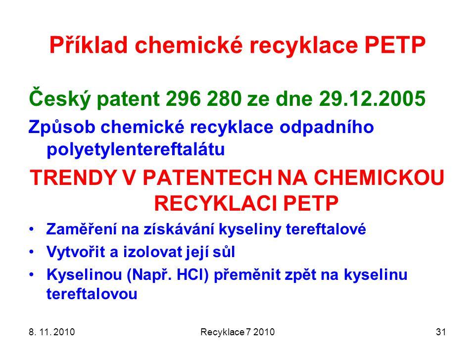 Příklad chemické recyklace PETP Český patent 296 280 ze dne 29.12.2005 Způsob chemické recyklace odpadního polyetylentereftalátu TRENDY V PATENTECH NA