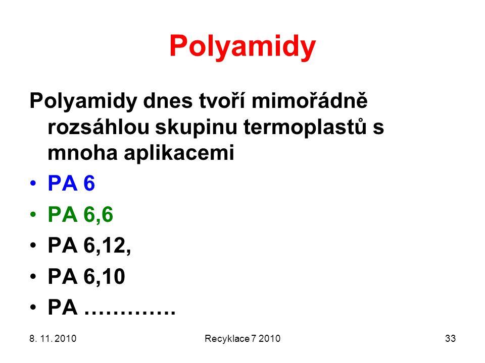 Polyamidy Polyamidy dnes tvoří mimořádně rozsáhlou skupinu termoplastů s mnoha aplikacemi PA 6 PA 6,6 PA 6,12, PA 6,10 PA …………. 8. 11. 2010Recyklace 7