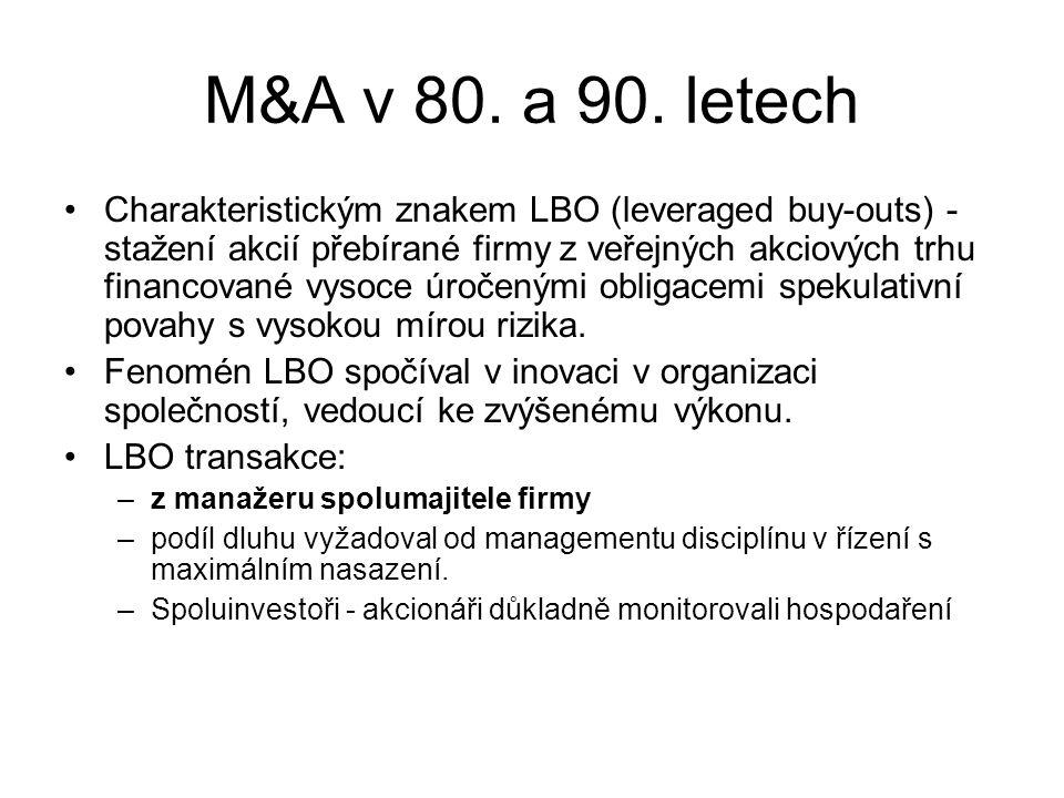M&A v 80. a 90. letech Charakteristickým znakem LBO (leveraged buy-outs) - stažení akcií přebírané firmy z veřejných akciových trhu financované vysoce