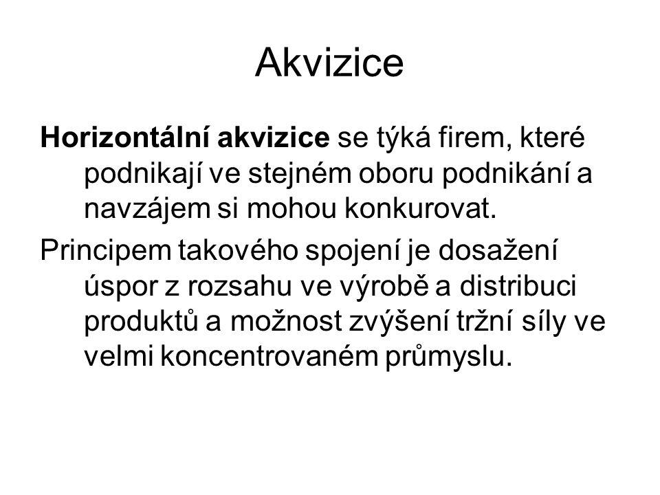 Akvizice Horizontální akvizice se týká firem, které podnikají ve stejném oboru podnikání a navzájem si mohou konkurovat. Principem takového spojení je