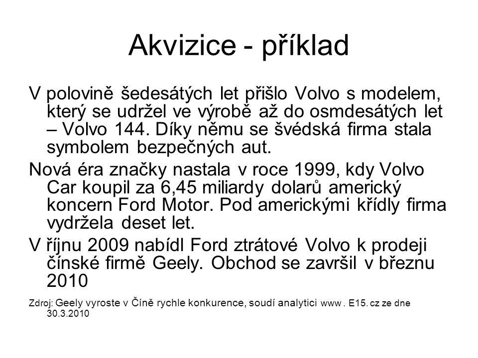 Akvizice - příklad V polovině šedesátých let přišlo Volvo s modelem, který se udržel ve výrobě až do osmdesátých let – Volvo 144. Díky němu se švédská