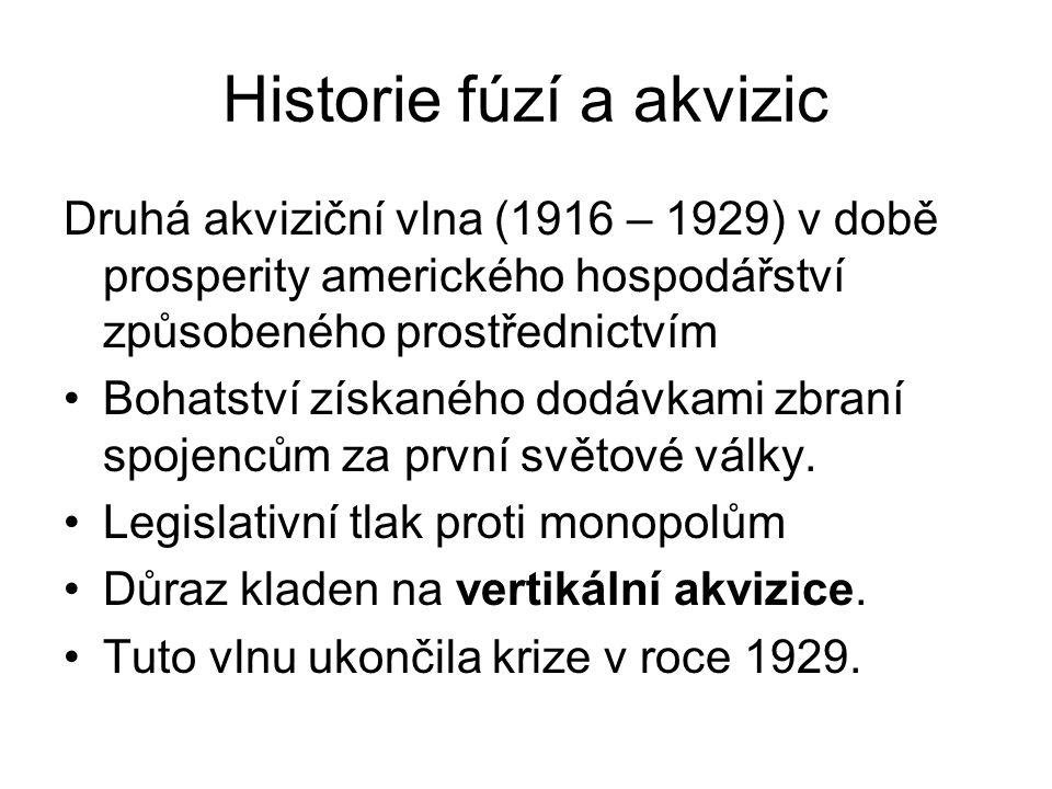 Historie fúzí a akvizic Druhá akviziční vlna (1916 – 1929) v době prosperity amerického hospodářství způsobeného prostřednictvím Bohatství získaného d