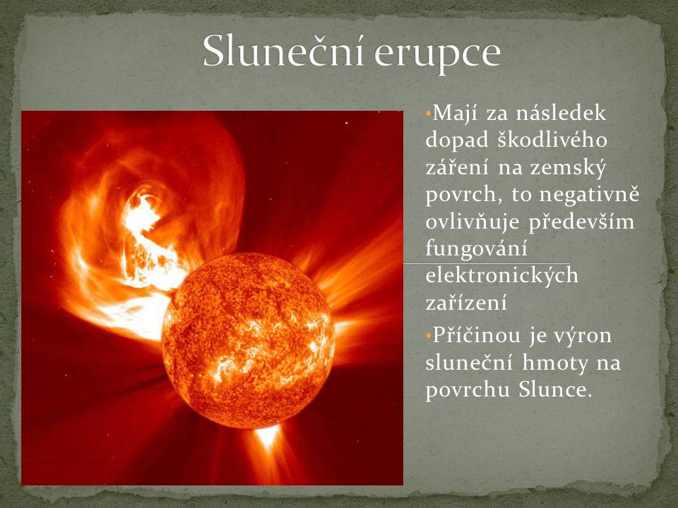 Mají za následek dopad škodlivého záření na zemský povrch, to negativně ovlivňuje především fungování elektronických zařízení Příčinou je výron sluneční hmoty na povrchu Slunce.