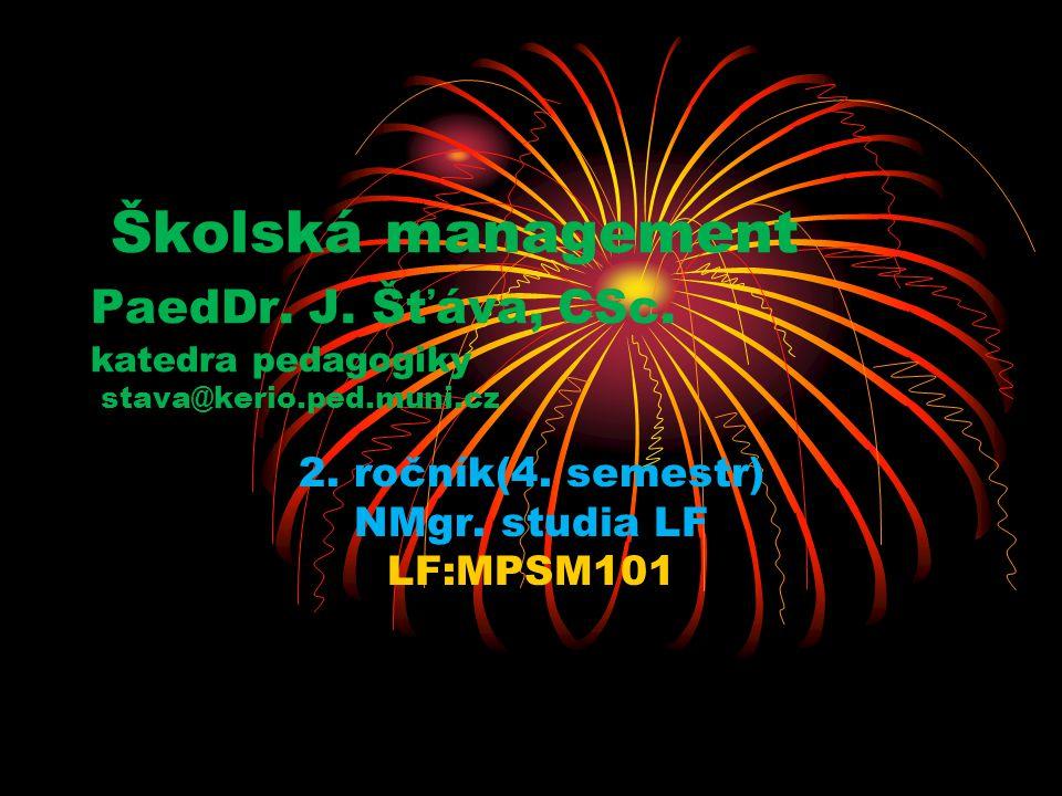 Školská management PaedDr. J. Šťáva, CSc. katedra pedagogiky stava@kerio.ped.muni.cz 2. ročník(4. semestr) NMgr. studia LF LF:MPSM101