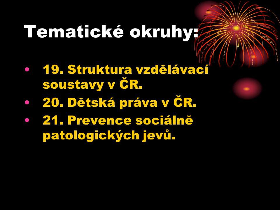 Tematické okruhy: 19. Struktura vzdělávací soustavy v ČR. 20. Dětská práva v ČR. 21. Prevence sociálně patologických jevů.