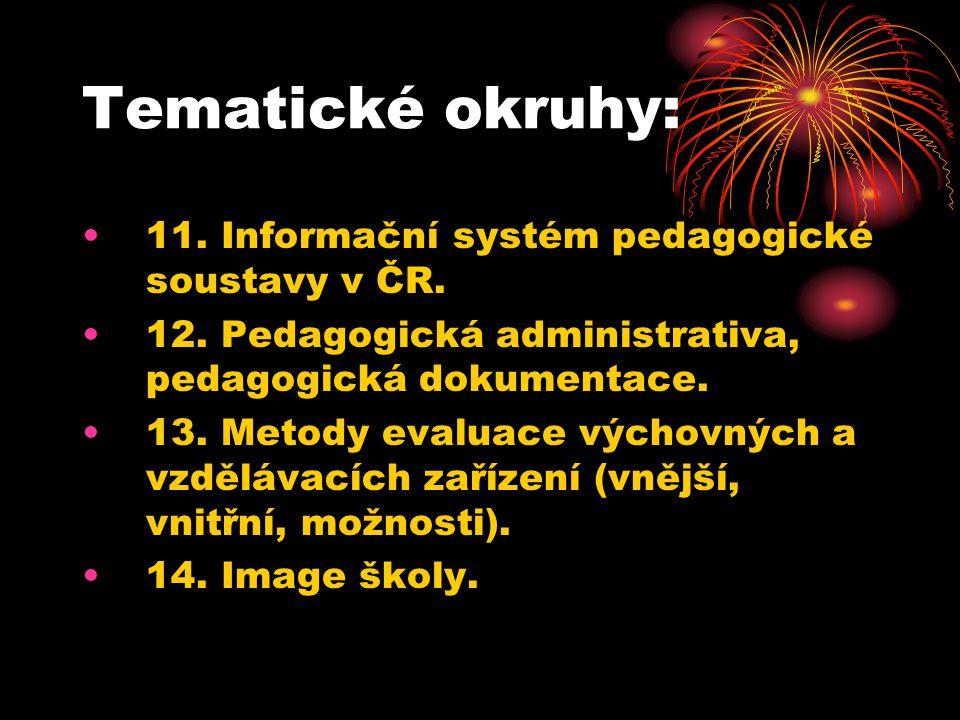 Tematické okruhy: 11. Informační systém pedagogické soustavy v ČR. 12. Pedagogická administrativa, pedagogická dokumentace. 13. Metody evaluace výchov