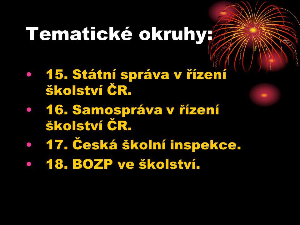Tematické okruhy: 19.Struktura vzdělávací soustavy v ČR.