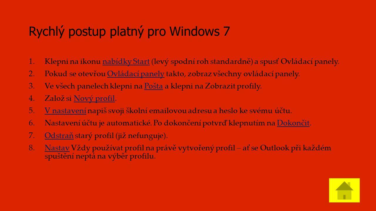 Rychlý postup platný pro Windows 7 1.Klepni na ikonu nabídky Start (levý spodní roh standardně) a spusť Ovládací panely.nabídky Start 2.Pokud se otevřou Ovládací panely takto, zobraz všechny ovládací panely.Ovládací panely 3.Ve všech panelech klepni na Pošta a klepni na Zobrazit profily.Pošta 4.Založ si Nový profil.Nový profil 5.V nastavení napiš svoji školní emailovou adresu a heslo ke svému účtu.V nastavení 6.Nastavení účtu je automatické.