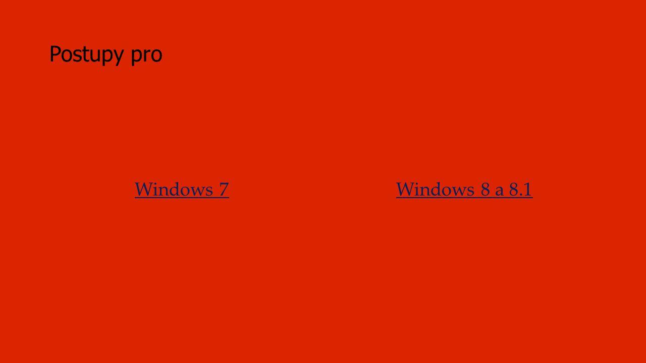 Rychlý postup platný pro Windows 8 a 8.1 (Odkazy vedou na podrobnější postup i s obrázky.) 1.Najeď myší do pravého spodního rohu a klepni levým tlačítkem myši na Nastavení.Najeď 2.V nastavení klepni na Ovládací panely.Ovládací panely 3.Pokud se otevřou Ovládací panely takto, zobraz všechny ovládací panely.Ovládací panely 4.Ve všech panelech klepni na Pošta.Pošta 5.Klepni na Zobrazit profily.Zobrazit profily 6.Založ si Nový profil.Nový profil 7.V nastavení napiš svoji školní emailovou adresu a heslo ke svému účtu.V nastavení 8.Nastavení účtu je automatické.