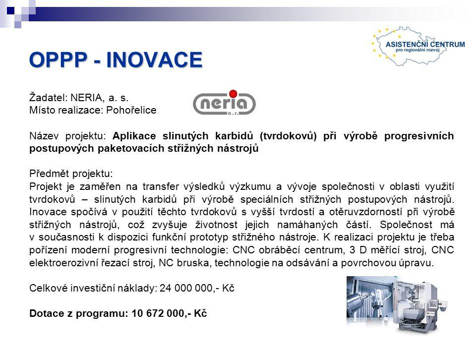 OPPP - INOVACE Žadatel: NERIA, a. s.