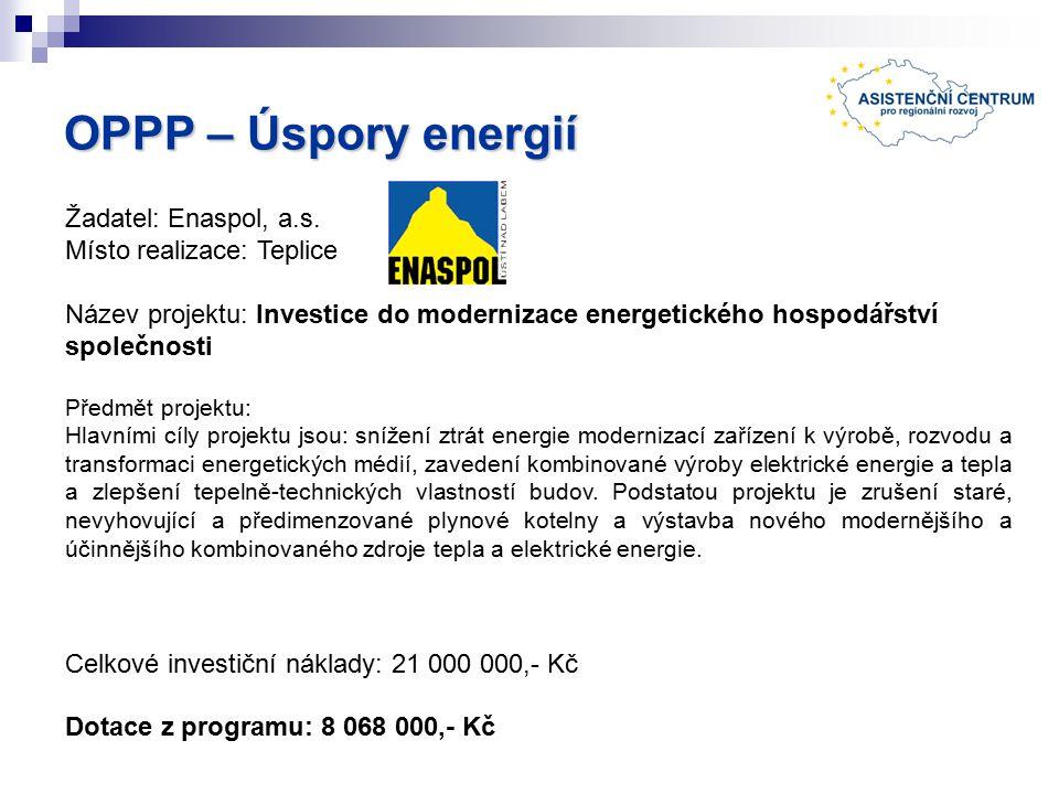 OPPP – Úspory energií Žadatel: Enaspol, a.s.