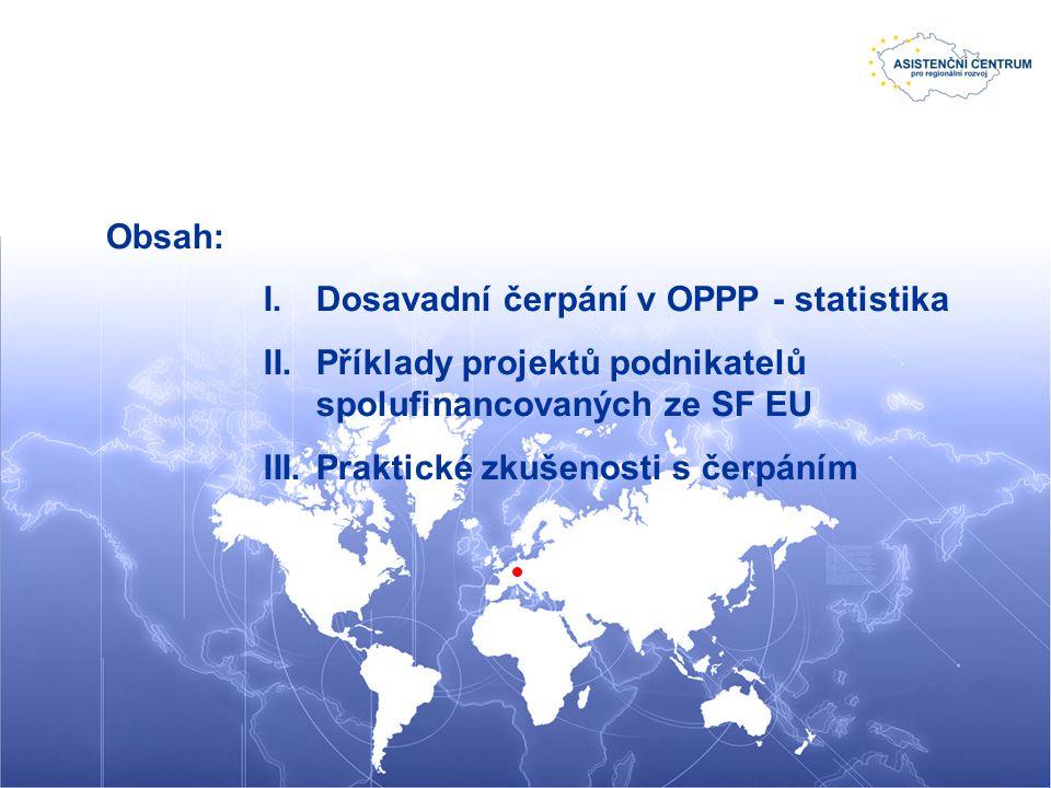 Obsah: I.Dosavadní čerpání v OPPP - statistika II.Příklady projektů podnikatelů spolufinancovaných ze SF EU III.Praktické zkušenosti s čerpáním