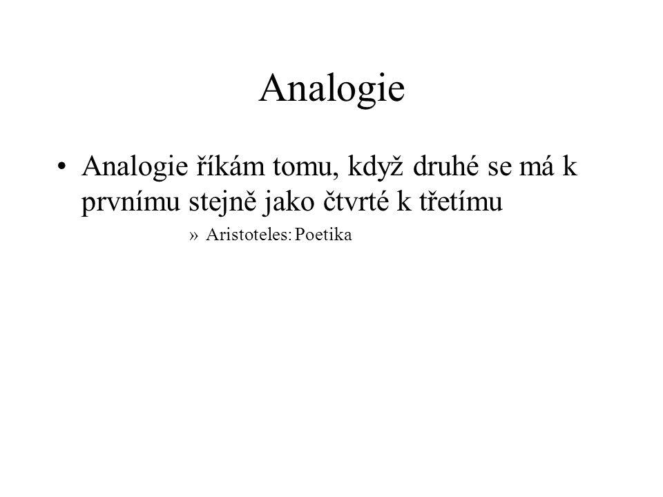 Analogie Analogie říkám tomu, když druhé se má k prvnímu stejně jako čtvrté k třetímu »Aristoteles: Poetika