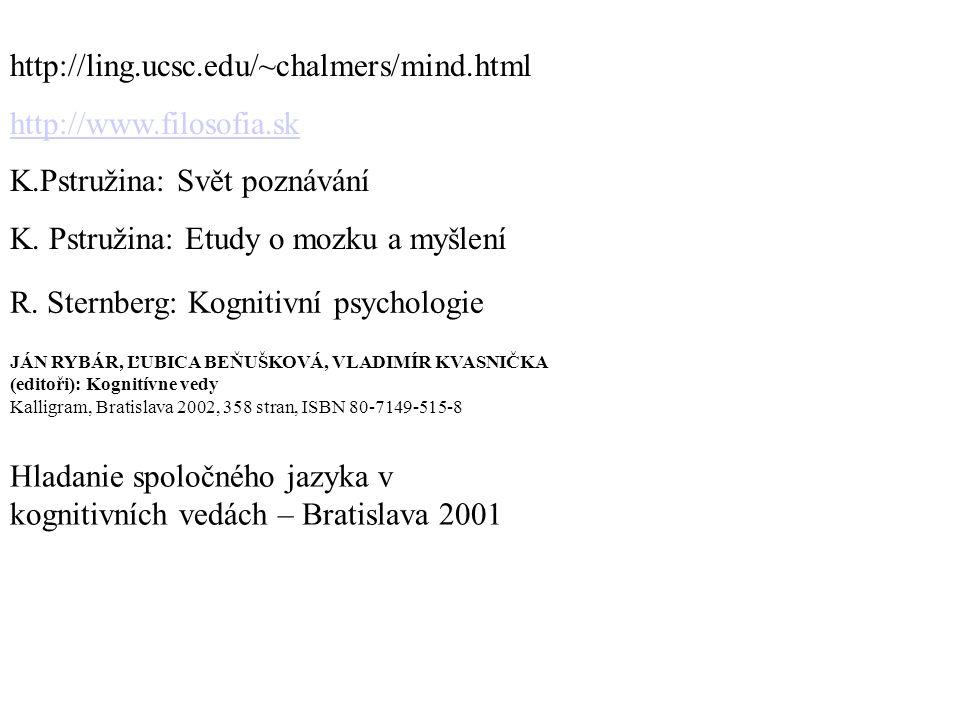 http://ling.ucsc.edu/~chalmers/mind.html http://www.filosofia.sk K.Pstružina: Svět poznávání K.