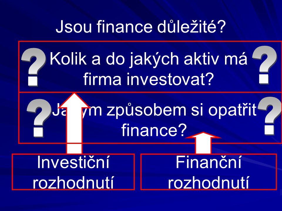 Jsou finance důležité? Kolik a do jakých aktiv má firma investovat? Jakým způsobem si opatřit finance? Finanční rozhodnutí Investiční rozhodnutí