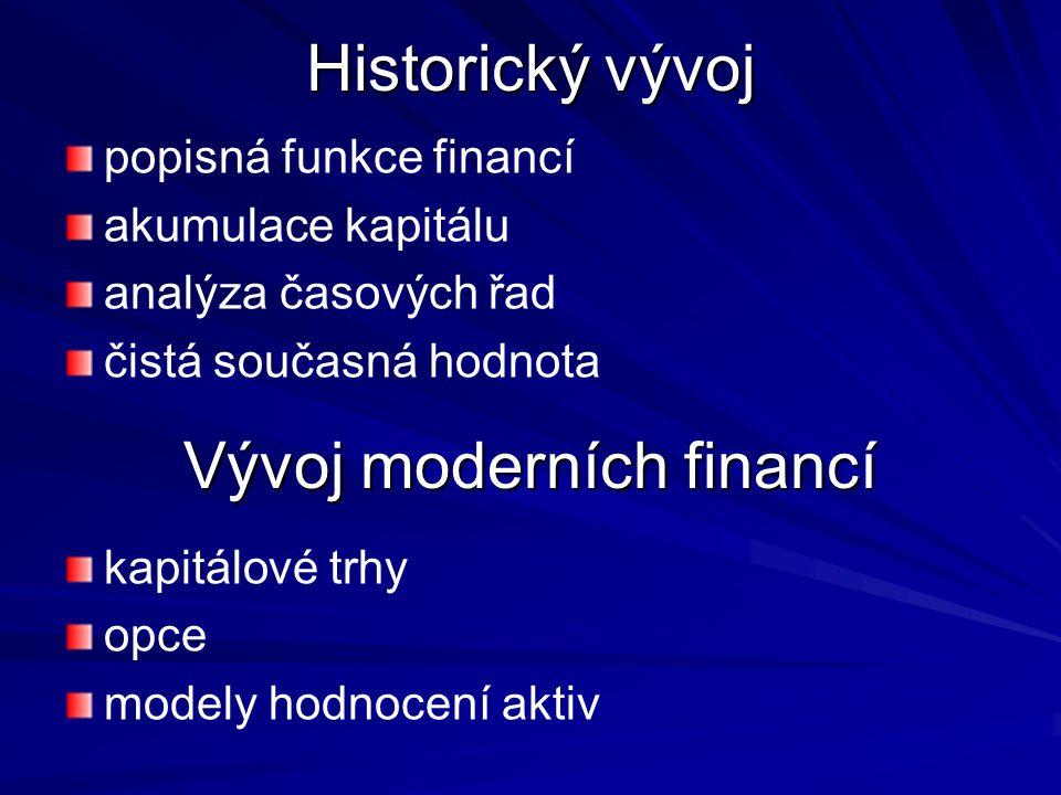 Historický vývoj popisná funkce financí akumulace kapitálu analýza časových řad čistá současná hodnota Vývoj moderních financí kapitálové trhy opce modely hodnocení aktiv