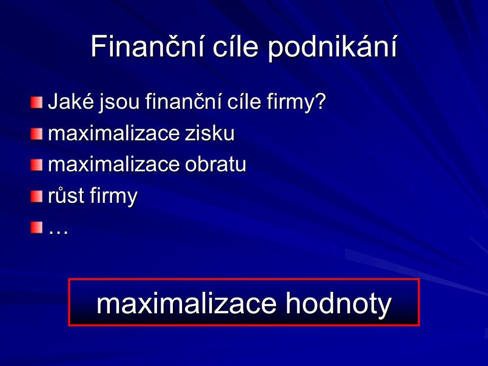 Finanční cíle podnikání Jaké jsou finanční cíle firmy? maximalizace zisku maximalizace obratu růst firmy … maximalizace hodnoty