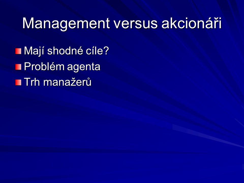 Management versus akcionáři Mají shodné cíle Problém agenta Trh manažerů