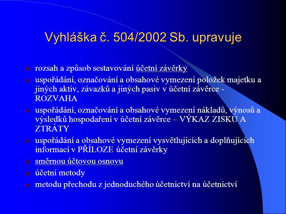 Vyhláška č.504/2002 Sb.