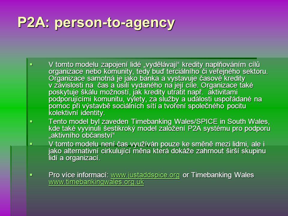 """P2A: person-to-agency  V tomto modelu zapojení lidé """"vydělávají kredity naplňováním cílů organizace nebo komunity, tedy buď terciálního či veřejného sektoru."""