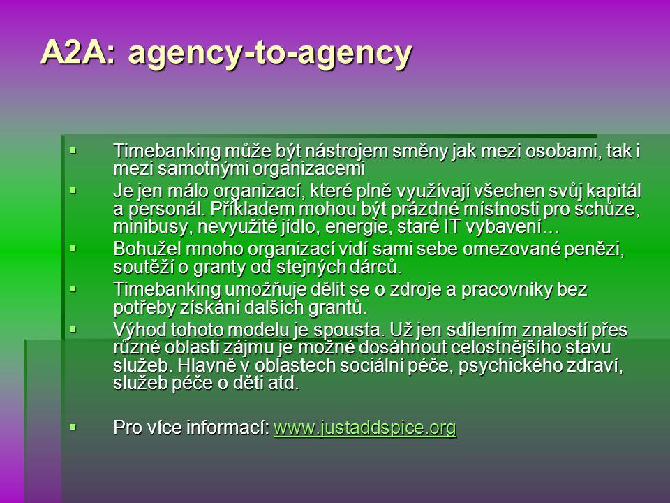 A2A: agency-to-agency  Timebanking může být nástrojem směny jak mezi osobami, tak i mezi samotnými organizacemi  Je jen málo organizací, které plně využívají všechen svůj kapitál a personál.