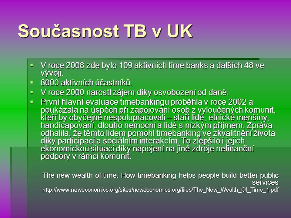 Současnost TB v UK  V roce 2008 zde bylo 109 aktivních time banks a dalších 48 ve vývoji.