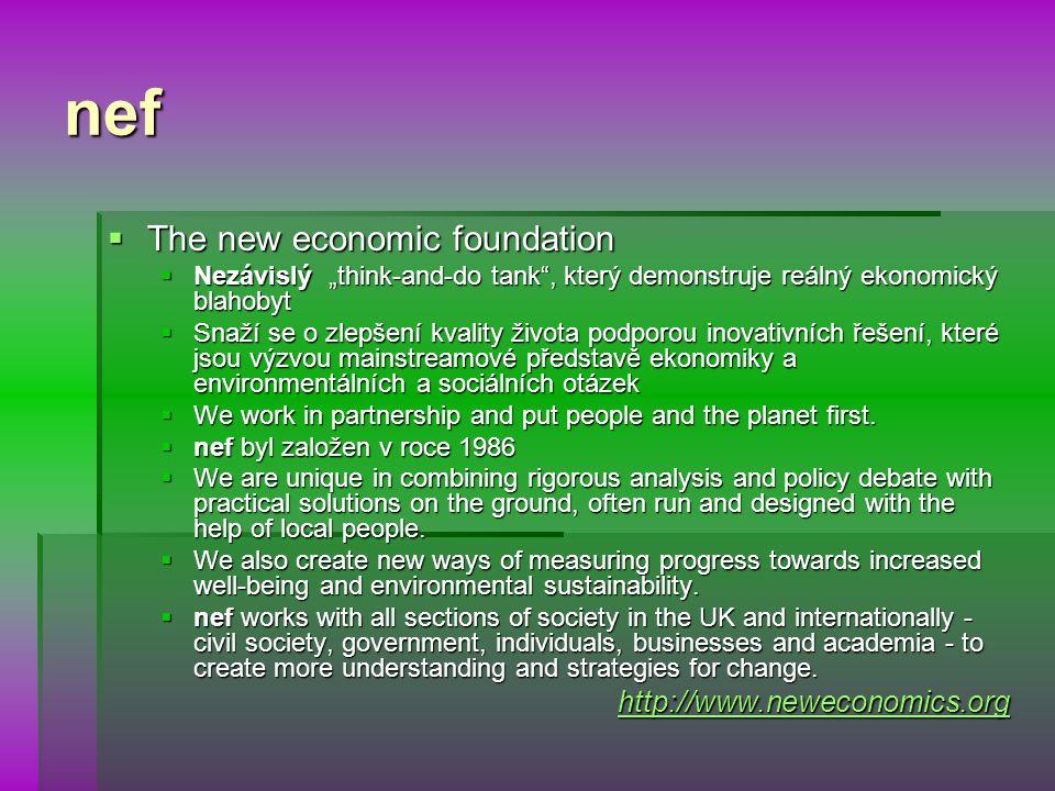 """nef  The new economic foundation  Nezávislý """"think-and-do tank , který demonstruje reálný ekonomický blahobyt  Snaží se o zlepšení kvality života podporou inovativních řešení, které jsou výzvou mainstreamové představě ekonomiky a environmentálních a sociálních otázek  We work in partnership and put people and the planet first."""