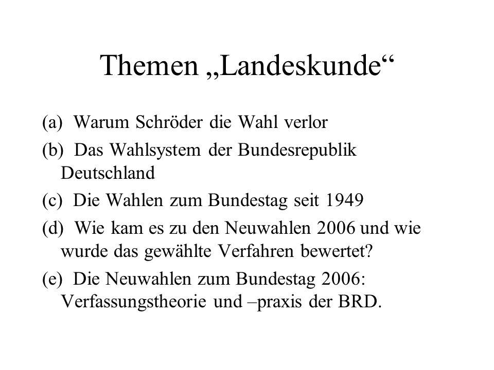 """Themen """"Landeskunde (a) Warum Schröder die Wahl verlor (b) Das Wahlsystem der Bundesrepublik Deutschland (c) Die Wahlen zum Bundestag seit 1949 (d) Wie kam es zu den Neuwahlen 2006 und wie wurde das gewählte Verfahren bewertet."""