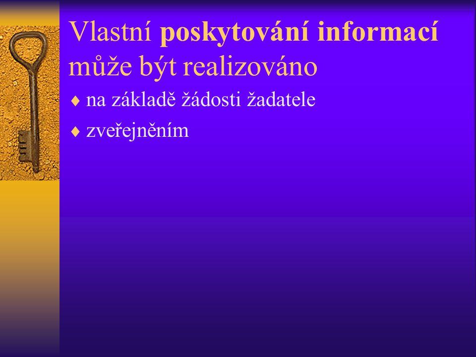 Vlastní poskytování informací může být realizováno  na základě žádosti žadatele  zveřejněním