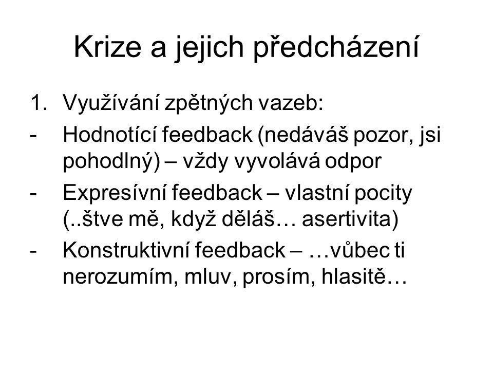 Krize a jejich předcházení 1.Využívání zpětných vazeb: -Hodnotící feedback (nedáváš pozor, jsi pohodlný) – vždy vyvolává odpor -Expresívní feedback – vlastní pocity (..štve mě, když děláš… asertivita) -Konstruktivní feedback – …vůbec ti nerozumím, mluv, prosím, hlasitě…
