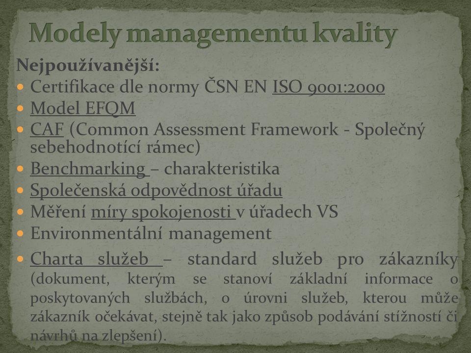 Nejpoužívanější: Certifikace dle normy ČSN EN ISO 9001:2000 Model EFQM CAF (Common Assessment Framework - Společný sebehodnotící rámec) Benchmarking – charakteristika Společenská odpovědnost úřadu Měření míry spokojenosti v úřadech VS Environmentální management Charta služeb – standard služeb pro zákazníky (dokument, kterým se stanoví základní informace o poskytovaných službách, o úrovni služeb, kterou může zákazník očekávat, stejně tak jako způsob podávání stížností či návrhů na zlepšení).