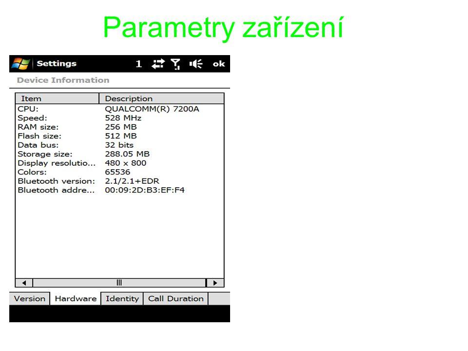 Parametry zařízení