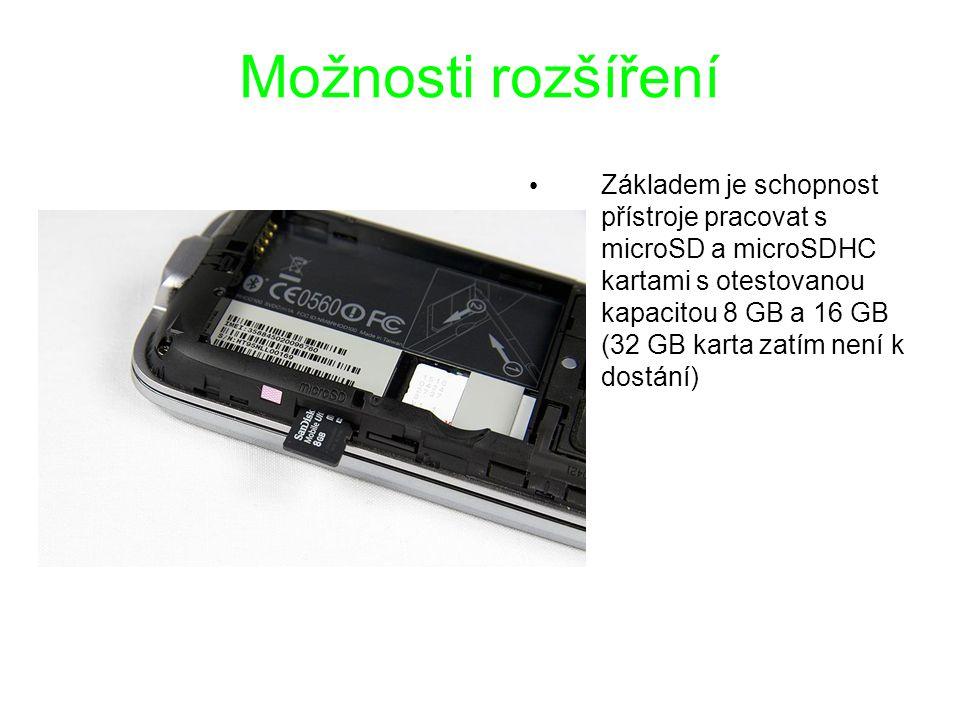 Možnosti rozšíření Základem je schopnost přístroje pracovat s microSD a microSDHC kartami s otestovanou kapacitou 8 GB a 16 GB (32 GB karta zatím není