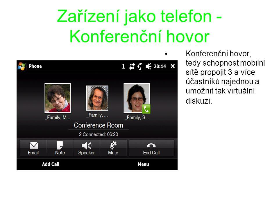 Zařízení jako telefon - Konferenční hovor Konferenční hovor, tedy schopnost mobilní sítě propojit 3 a více účastníků najednou a umožnit tak virtuální