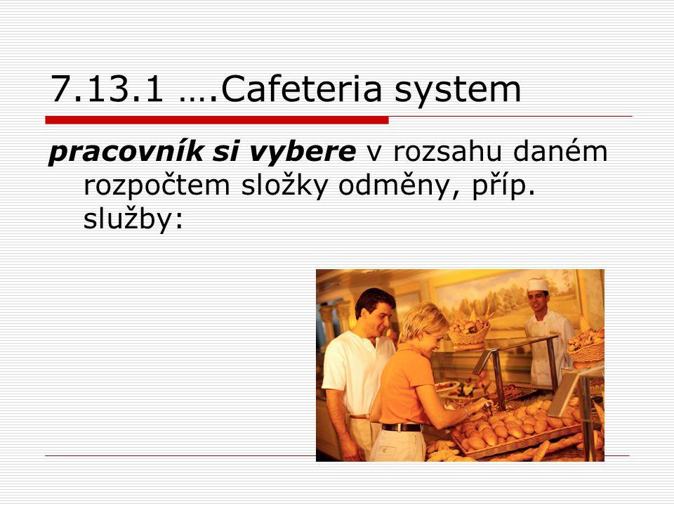 7.13.1 ….Cafeteria system pracovník si vybere v rozsahu daném rozpočtem složky odměny, příp. služby: