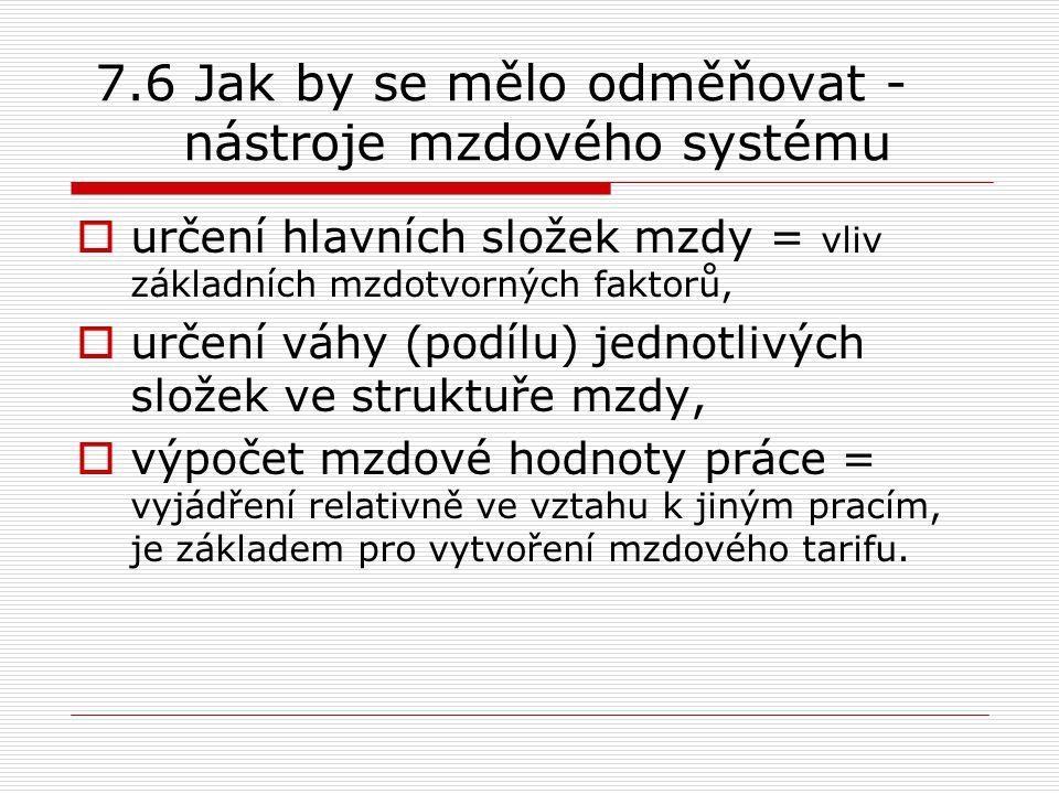 7.6 Jak by se mělo odměňovat - nástroje mzdového systému  určení hlavních složek mzdy = vliv základních mzdotvorných faktorů,  určení váhy (podílu)