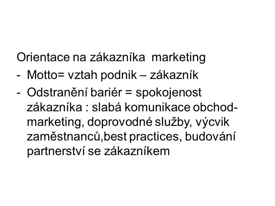 Orientace na zákazníka marketing -Motto= vztah podnik – zákazník -Odstranění bariér = spokojenost zákazníka : slabá komunikace obchod- marketing, doprovodné služby, výcvik zaměstnanců,best practices, budování partnerství se zákazníkem