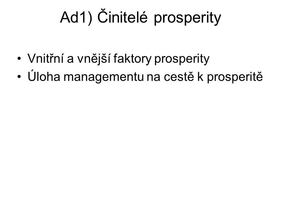 Ad1) Činitelé prosperity Vnitřní a vnější faktory prosperity Úloha managementu na cestě k prosperitě